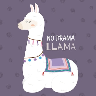 Conception de llama mignonne sans citation de motivation de drama llama.