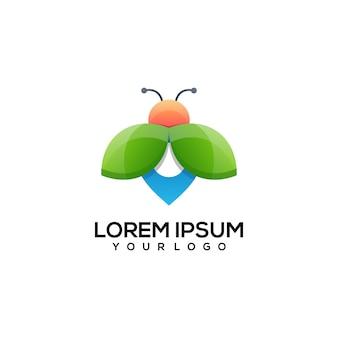 Conception de logo d'abeille d'épingle colorée