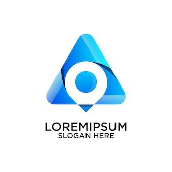 Conception de logo abstrait triangulaire avec emplacement de broche