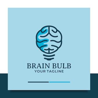 Conception de logo d'ampoule de cerveau pense l'idée