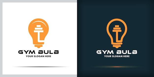 Conception de logo d'ampoule de gymnastique et conception de carte de visite