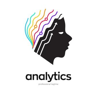 Conception de logo d'analyse du cerveau