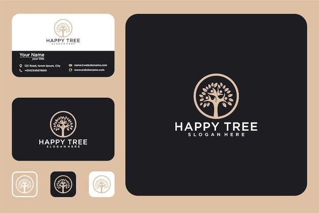 Conception de logo d'arbre heureux et carte de visite