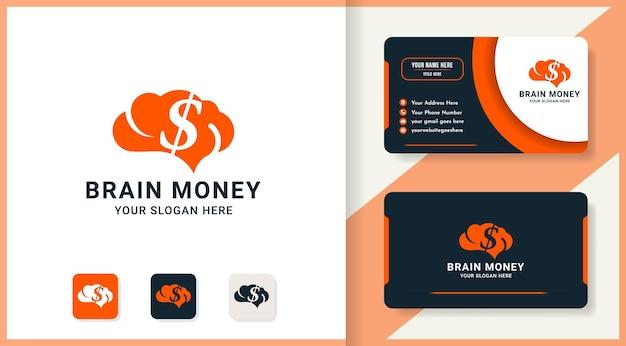 Conception de logo d'argent de cerveau et de carte de visite