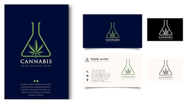 Conception de logo d'art de laboratoire de feuille de marijuana et de carte de visite