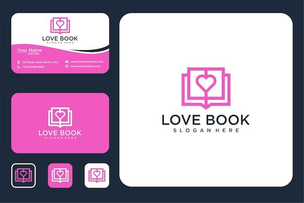 Conception de logo d'art de ligne d'amour de livre et carte de visite