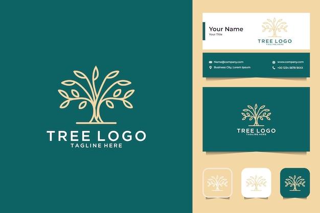 Conception de logo d'art de ligne d'arbre et carte de visite