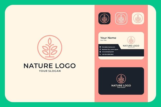 Conception de logo d'art de ligne de beauté de nature et carte de visite