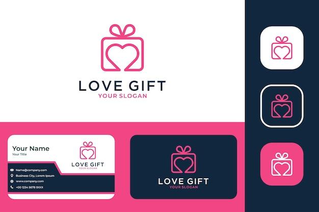 Conception de logo d'art de ligne de cadeau d'amour et carte de visite