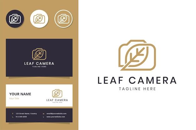 Conception de logo d'art de ligne de caméra de feuille