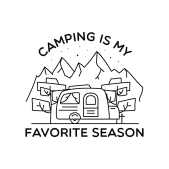 Conception de logo d'art de ligne de camping. conception d'insigne linéaire d'aventure vintage. étiquette de crête extérieure avec montagnes et remorque de camping-car. emblème de silhouette de voyage isolé. stock isolé.