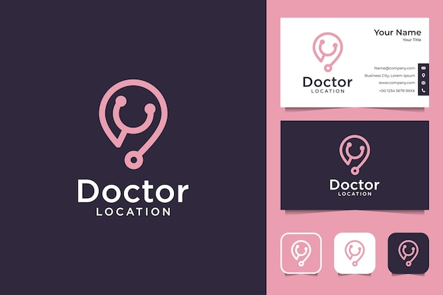 Conception de logo d'art de ligne de docteur et carte de visite