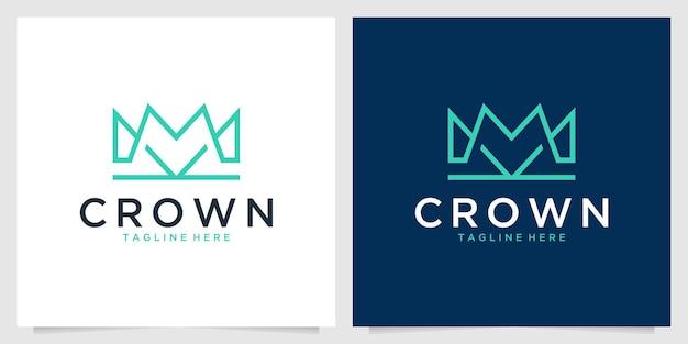 Conception de logo d'art de ligne élégante de couronne