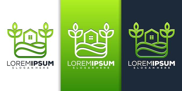 Conception de logo d'art de ligne de ferme à la maison