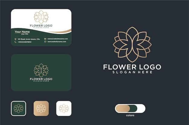 Conception de logo d'art de ligne de fleur et carte de visite