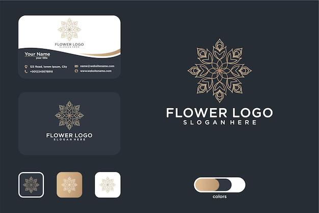 Conception de logo d'art de ligne de fleur élégante et carte de visite