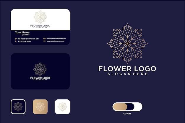 Conception de logo d'art de ligne de fleur de luxe et carte de visite