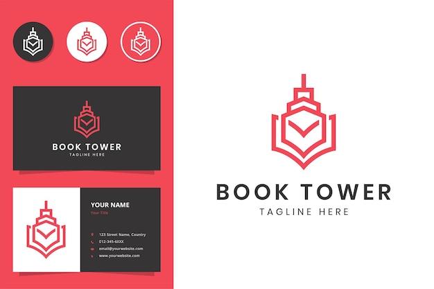 Conception de logo d'art de ligne de livre et de tour et carte de visite