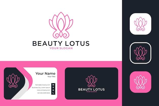 Conception de logo d'art de ligne de lotus de beauté et carte de visite