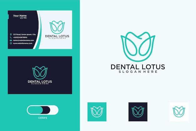 Conception de logo d'art de ligne de lotus dentaire élégant et carte de visite