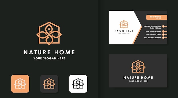 Conception de logo d'art de ligne de maison de feuille et conception de carte de visite