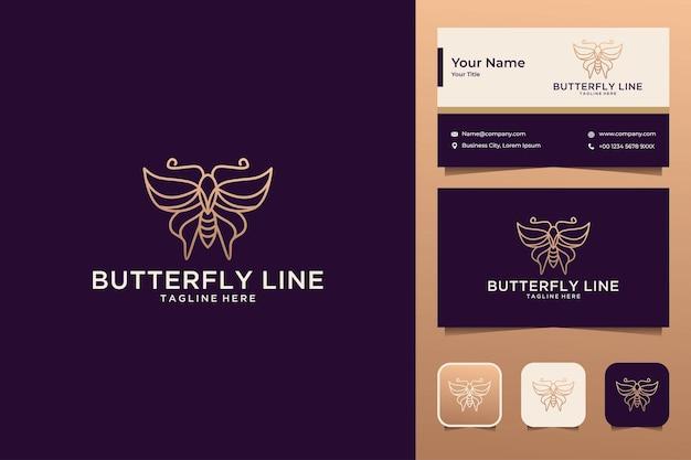 Conception de logo d'art de ligne de papillon de luxe et carte de visite