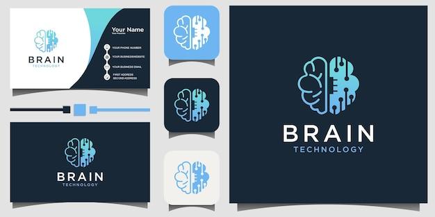 Conception de logo d'art de ligne de technologie de cerveau vector avec la carte de visite d'arrière-plan de modèle