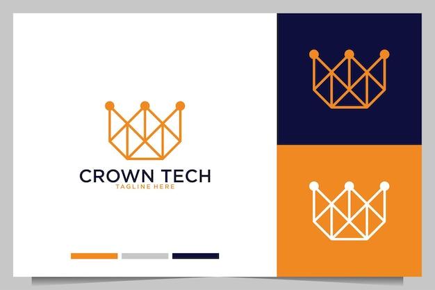 Conception de logo d'art de ligne de technologie de couronne