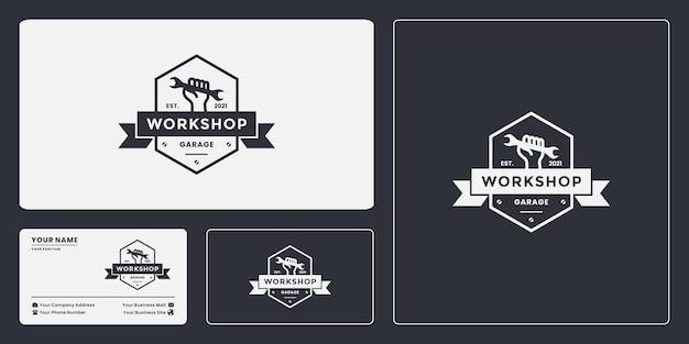Conception de logo d'atelier d'insigne d'emblème vintage