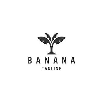 Conception de logo de banane arbre logo de style plat