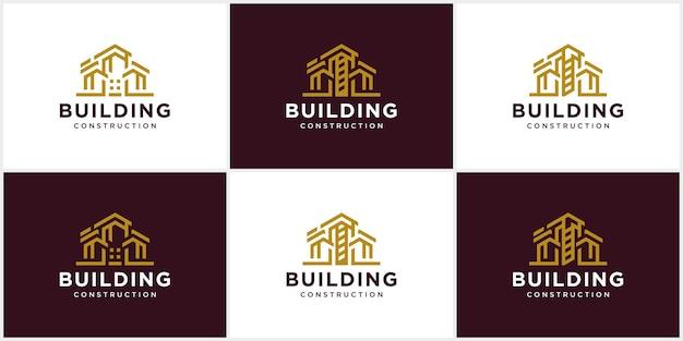 Conception de logo de bâtiment abstrait modèle de logo de construction d'architecte architecture et construction