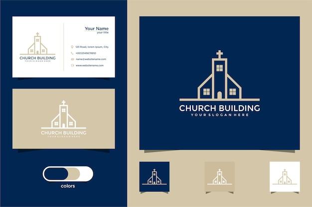 Conception de logo de bâtiment d & # 39; église et carte de visite