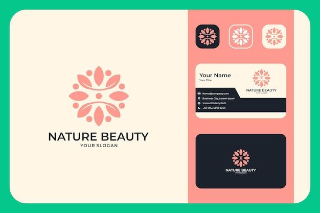 Conception de logo de beauté de la nature et carte de visite bon usage pour le logo de mode ou de beauté