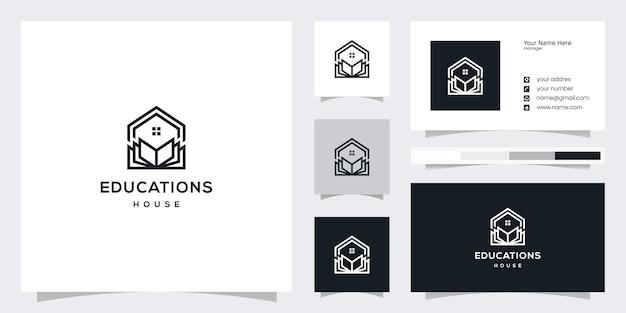 Conception de logo de bibliothèque de conception de logo de lecture à la maison et conception de carte de visite