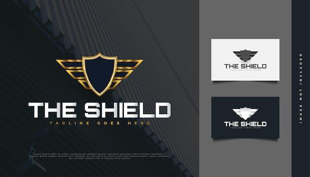 Conception de logo de bouclier bleu et or, adaptée à l'industrie de la sécurité ou de la protection
