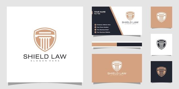 Conception de logo de bouclier de cabinet d'avocats et carte de visite