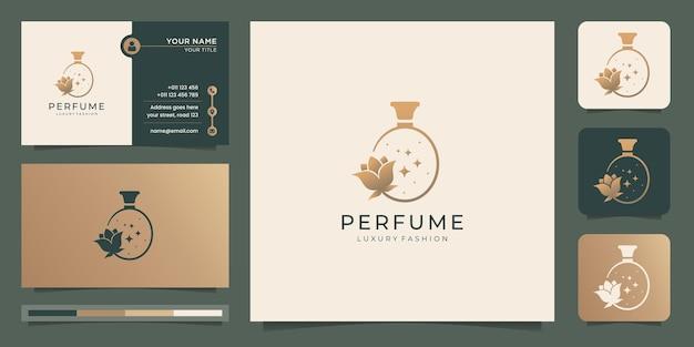 Conception de logo de bouteille de parfum de luxe et de carte de visite. bouteilles de parfum spray logo avec fleur de beauté.