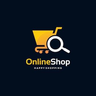 Conception de logo de boutique en ligne concept vectoriel, modèle de logo de recherche de boutique