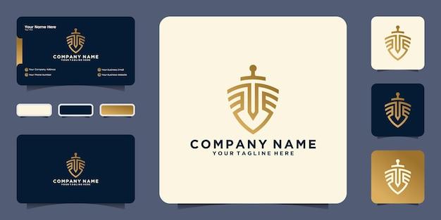 Conception de logo de cabinet d'avocats d'épée de bouclier, conception de logo d'avocat et carte de visite