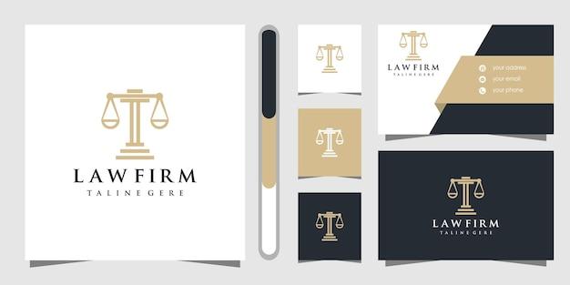 Conception de logo de cabinet d'avocats et modèle de carte de visite.