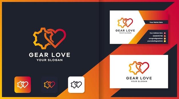 Conception de logo et carte de visite d'amour d'engrenage