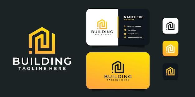 Conception de logo et de carte de visite d'architecture de bâtiment moderne