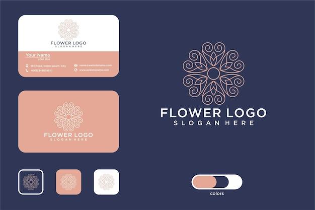 Conception de logo et carte de visite d'art de ligne de belle fleur