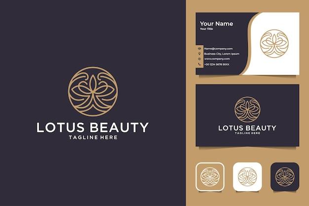 Conception de logo et carte de visite d'art de ligne de cercle de beauté de lotus