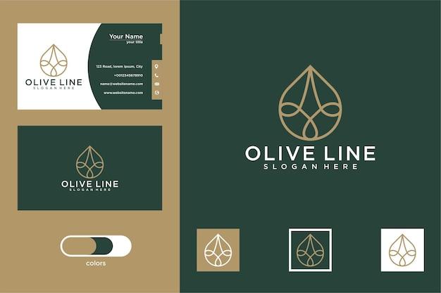 Conception de logo et carte de visite d'art de ligne d'huile d'olive