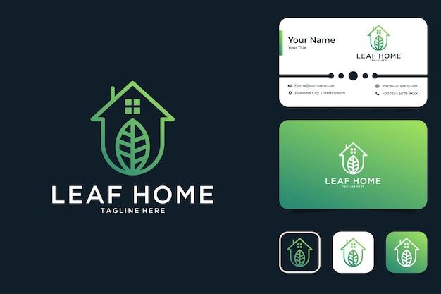 Conception de logo et carte de visite d'art de ligne de maison de feuille verte