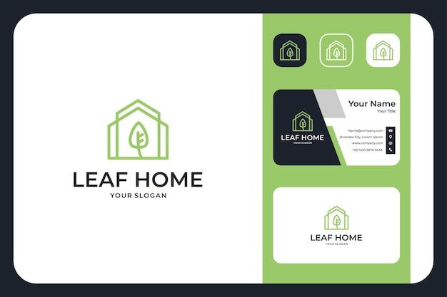 Conception de logo et carte de visite d'art de ligne à la maison de feuille verte