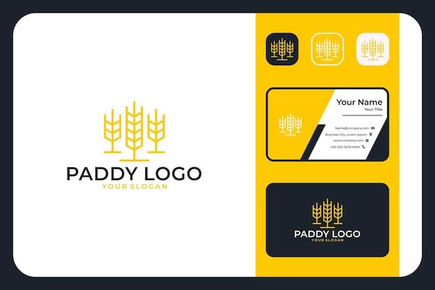 Conception de logo et carte de visite d'art de ligne de paddy