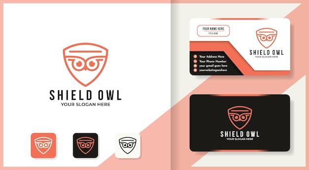 Conception de logo et carte de visite de bouclier de hibou