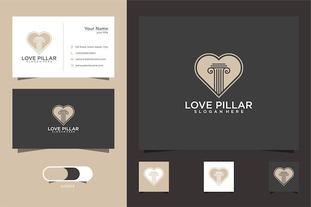 Conception De Logo Et Carte De Visite De Cabinet D'avocats D'amour Vecteur Premium